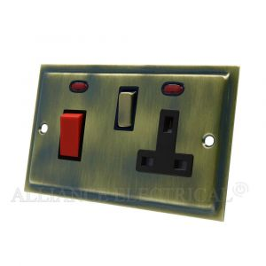 Slimline Antique Brass Cooker Control Unit with 2 Neon - 45A Cooker Socket
