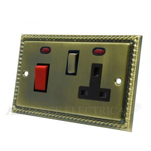 Georgian Antique Brass Cooker Control Unit with 2 Neon - 45A Cooker Socket