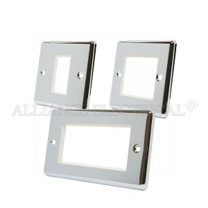 Polished Chrome Classical Data Grid Outlet Face Plate 1 Gang 2G 4G With Frame
