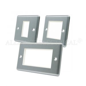 Satin Chrome Classical Data Grid Outlet Face Plate 1 Gang 2G 4G With Frame