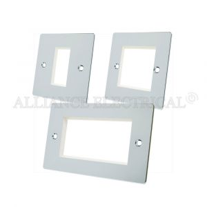 Polished Chrome Flat Data Grid Outlet Face Plate 1 Gang 2G 4G With Frame