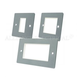 Satin Chrome Flat Data Grid Outlet Face Plate 1 Gang 2G 4G With Frame