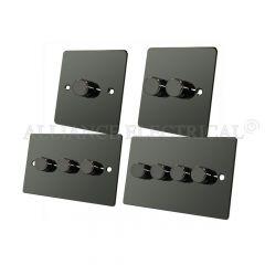 Black Nickel Flat Plate Light Dimmer 400W - 10A 1 Gang 2G 3G 4G 2 Way