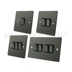 Black Nickel Flat Plate Light Switch - 10 Amp 1 Gang 2G 3G 4G 2 Way Switch/ Intermediate Switch