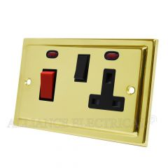 Victorian Polished Brass Cooker Control Unit with 2 Neon - 45A Cooker Socket