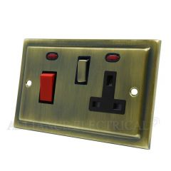 Victorian Antique Brass Cooker Control Unit with 2 Neon - 45A Cooker Socket