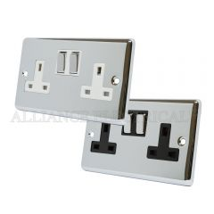 Polished Chrome Classical Style 13 Amp Double Wall Socket 2 Gang