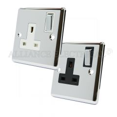Polished Chrome Classical Style 13 Amp Double Wall Socket 1 Gang