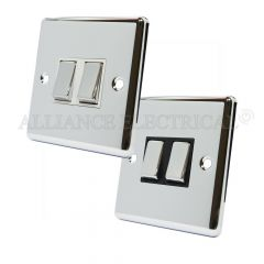 Polished Mirror Chrome Classical 2 Gang Light Switch - 10 Amp Double 2G 2 Way
