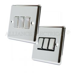 Polished Mirror Chrome Classical 3 Gang Switch 10 Amp Triple 2 Way Light Switch