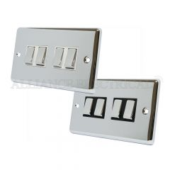 Polished Mirror Chrome Classical 4 Gang Switch - 10 Amp 2 Way Quad Light Switch
