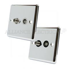 Polished Mirror Chrome Classical TV/ Sky Socket - Aerial Coaxial Satellite Point
