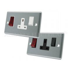 Satin Chrome Classical Cooker Control Unit with Neon - 45A Cooker Socket