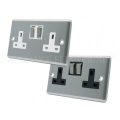 Satin Chrome Classical Style 13 Amp Double Wall Socket 2 Gang