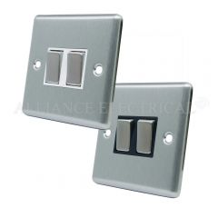 Satin Chrome Classical 2 Gang Switch -10 Amp Double 2 Way Light Switch