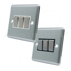 Satin Chrome Classical 3 Gang Switch -10 Amp Triple 2 Way Light Switch