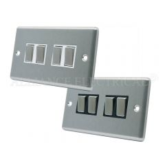 Satin Chrome Classical 4 Gang Switch -10 Amp Quad 2 Way Light Switch