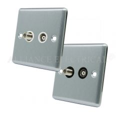 Satin Chrome Classical TV/ Sky Socket - Aerial Coaxial Satellite Point