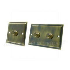 Slimline Antique Brass Dimmer 1000W -10 Amp 1 Gang 2G 2 Way