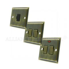 Slimline Antique Brass Switched Fused Spur - 13 Amp Fused Connection Unit