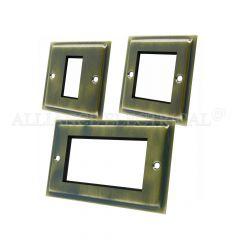 Slimline Antique Brass Data Grid Outlet Face Plate 1 Gang 2G 4G With Frame