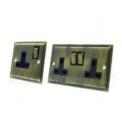 Slimline Antique Brass 13 Amp 1 Gang / 2 Gang Socket / 5 Amp Socket- Single / Double Plug Outlet