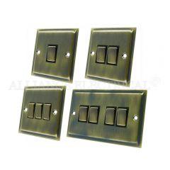 Slimline Antique Brass Light Switch - 10 Amp 1 Gang 2G 3G 4G 2 Way Switch/ Intermediate Switch