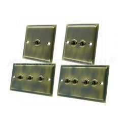 Slimline Antique Brass Toggle Switch - 10A 1G 2G 3G 4G 2 Way Dolly Light Switch