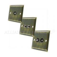 Slimline Antique Brass TV/ Sky Socket - Aerial Coaxial Female/ Satellite Socket