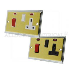 Slimline Satin Brass Face/Polished Chrome Edge Cooker Control Unit with 2 Neon - 45A Cooker Socket