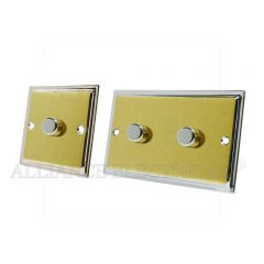 Slimline Satin Brass Face/Polished Chrome Edge Dimmer 1000W -10 Amp 1 Gang 2G 2 Way