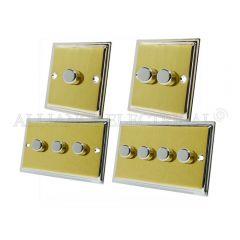 Slimline Satin Brass Face/Polished Chrome Edge LED Light Dimmer 250W - 10 Amp 1 Gang 2G 3G 4G 2 Way