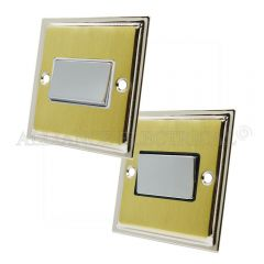 Slimline Satin Brass Face/Polished Chrome Edge Fan Isolator Switch 10 Amp 3 Pole Fan Isolation