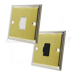 Slimline Satin Brass Face/Polished Chrome Edge Unswitched Fused Spur - 13 Amp Fused Connection Unit