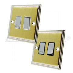 Slimline Satin Brass Face/Polished Chrome Edge Switched Fused Spur 13Amp Fused Connection Unit