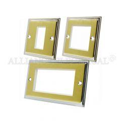 Slimline Satin Brass Face/Polished Chrome Edge Data Grid Outlet Face Plate 1 Gang 2G 4G With Frame