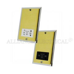 Slimline Satin Brass Face/Polished Chrome Edge Shaver Socket Outlet 2 Gang Dual Voltage 115V/230V