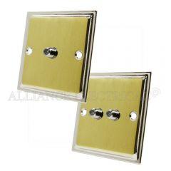 Slimline Satin Brass Face/Polished Chrome Edge Sky Socket - Satellite Point 1 Gang 2G