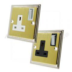 Slimline Satin Brass Face/Polished Chrome Edge 13 Amp Single Wall Socket 1 Gang