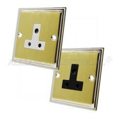 Slimline Satin Brass Face/Polished Chrome Edge Round Pin 5 Amp Socket - 1 Gang Lamp Outlet