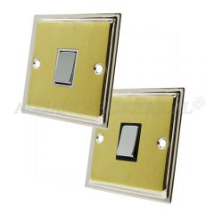 Slimline Satin Brass Face/Polished Chrome Edge Intermediate 1 Gang Switch -10 Amp Single Light Switch