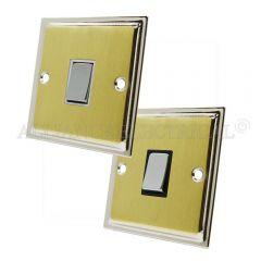 Slimline Satin Brass Face/Polished Chrome Edge 1 Gang Switch -10 Amp Single 2 Way Light Switch
