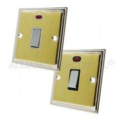 Slimline Satin Brass Face/Polished Chrome Edge 20A Double Pole Switch 20 Amp DP Switch w/Neon