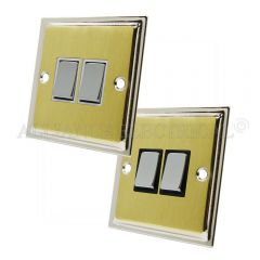 Slimline Satin Brass Face/Polished Chrome Edge 2 Gang Switch -10 Amp Double 2 Way Light Switch