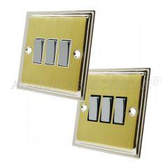 Slimline Satin Brass Face/Polished Chrome Edge 3 Gang Switch -10 Amp Triple 2 Way Light Switch