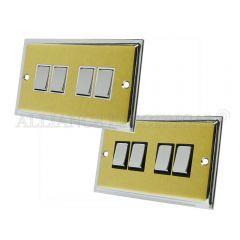 Slimline Satin Brass Face/Polished Chrome Edge 4 Gang Switch -10 Amp Quad 2 Way Light Switch