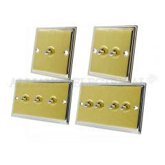 Slimline Satin Brass Face/Polished Chrome Edge Toggle Switch - 10A 1G 2G 3G 4G 2 Way Dolly Light Switch