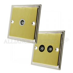 Slimline Satin Brass Face/Polished Chrome Edge TV Socket - Aerial Coaxial Point 1 Gang/ 2G