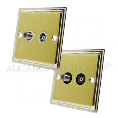 Slimline Satin Brass Face/Polished Chrome Edge TV/ Sky Socket - Aerial Coaxial Satellite Point