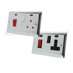 Polished Chrome Slimline Cooker Control Unit with 2 Neon - 45A Cooker Socket